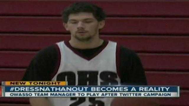 Twitter has helped an Oklahoma High School student's dream come true. Nathan Micham, a special needs student, is the team manager for the Owasso High School basketball team. Nathan had always dreamed of playing in a game and it finally happened this week.