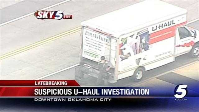 Oklahoma City police officers entered the suspicious U-Haul and found nothing inside it.