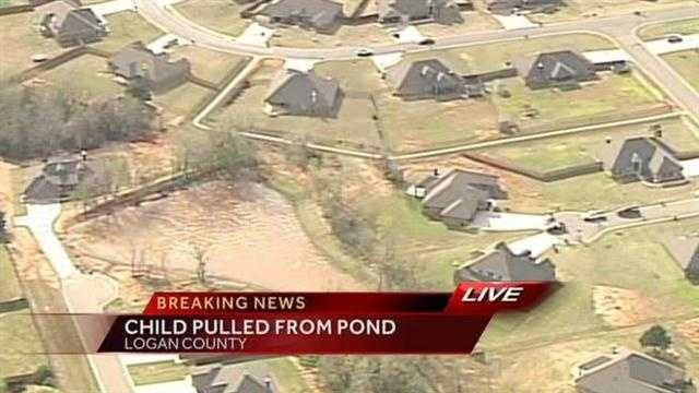 Emergency crews are at the scene of a home in Logan County, where a child had to be pulled from a pond. Sky5 is over the scene.