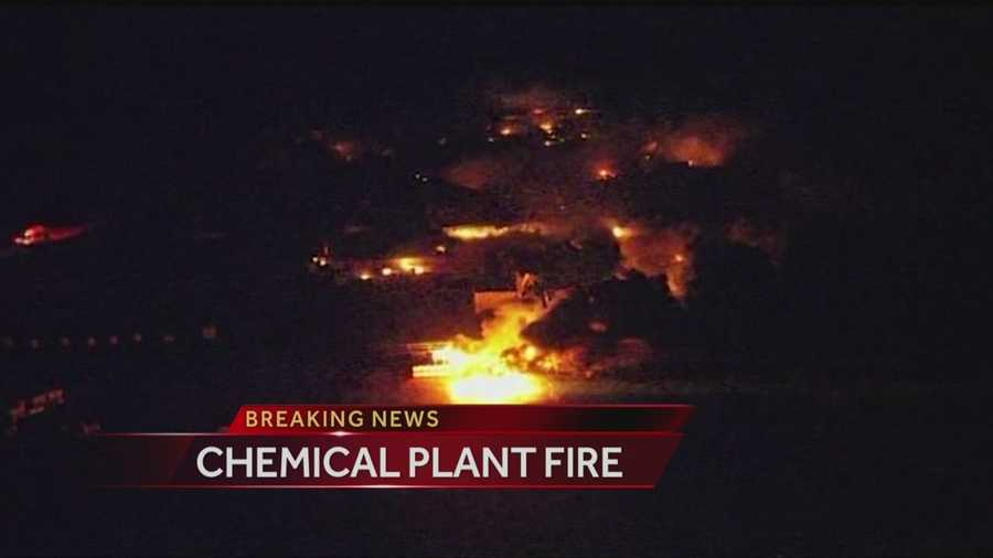Crews are still at the scene of a large chemical plant fire Thursday morning. The blaze at Danlin Industries in Thomas north of Weatherford broke out Wednesday night about 9:45 p.m. and has been burning for nearly nine hours.