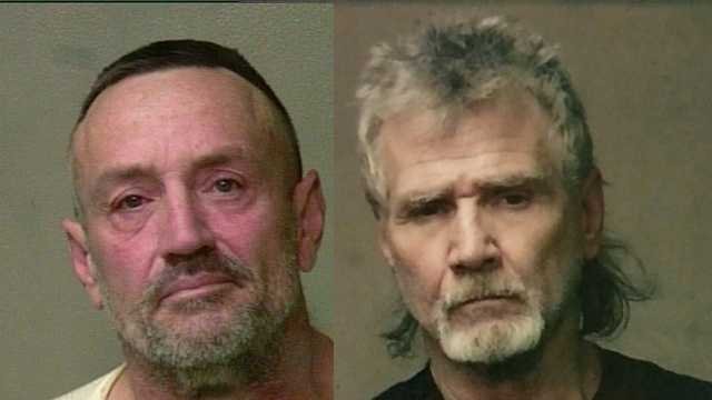 Ronald Ross, left, and Ricky Tobey, right, are accused of stealing and using a Valley Brook police officer's credit cards.