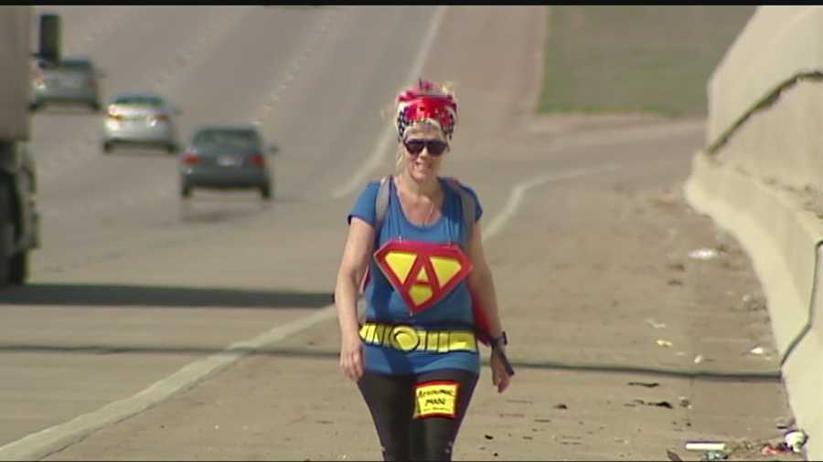 "A Guthrie teacher walked more than 20 miles to the state capitol dressed as the super hero ""Academic Man"" on Sunday to bring attention to the work teachers do for Oklahoma students."
