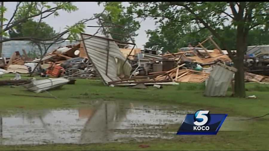 The city of Ninnekah was badly damaged Friday by a tornado. One family's mobile home was destroyed.