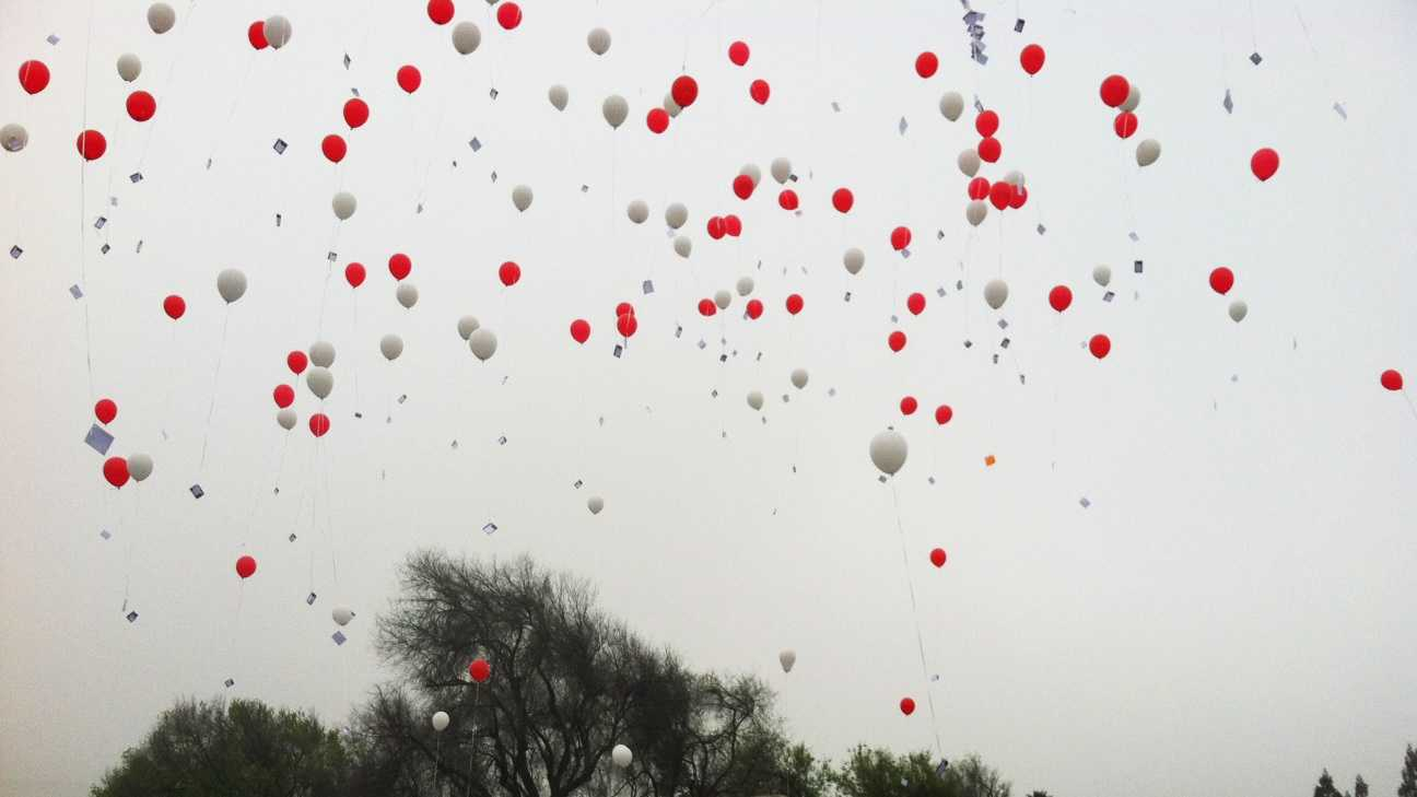 On March 16, 2013, more than a hundred balloons were released into the sky above Morgan Hill to mark one year since Sierra Lamar was abducted.Attached to each balloon was a message of hope and support hand written by the many searchers, friends, and family who gathered in Morgan Hill for the tragic milestone.