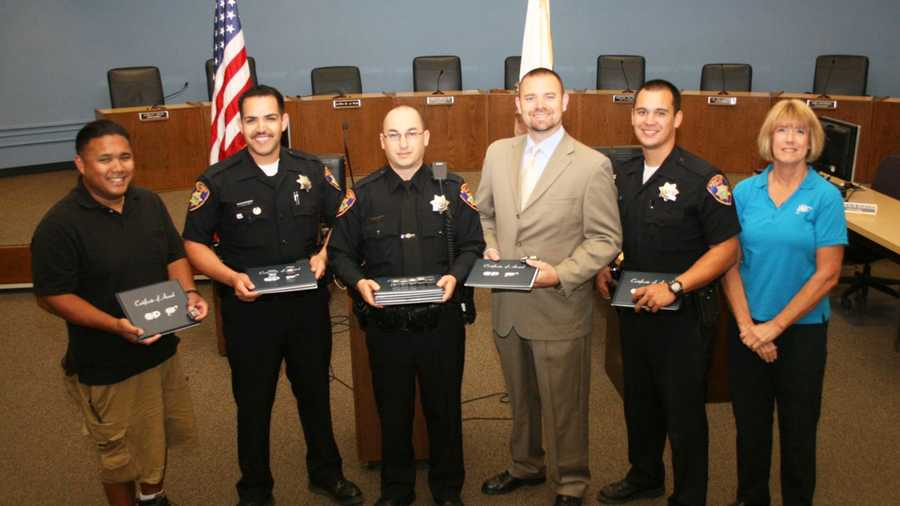 Salinas police officers Zach Dunagan and Anthony Parker received 10851 Pins, and Scott Sutton, Robert Balaoro, Raul Rosales, and Jacky Bohn received Master 10851 Pins.