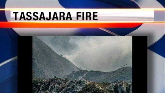 A wildfire near Tassajara Springs in the Los Padres National Forest scorched about 200 acres but spread slowly.