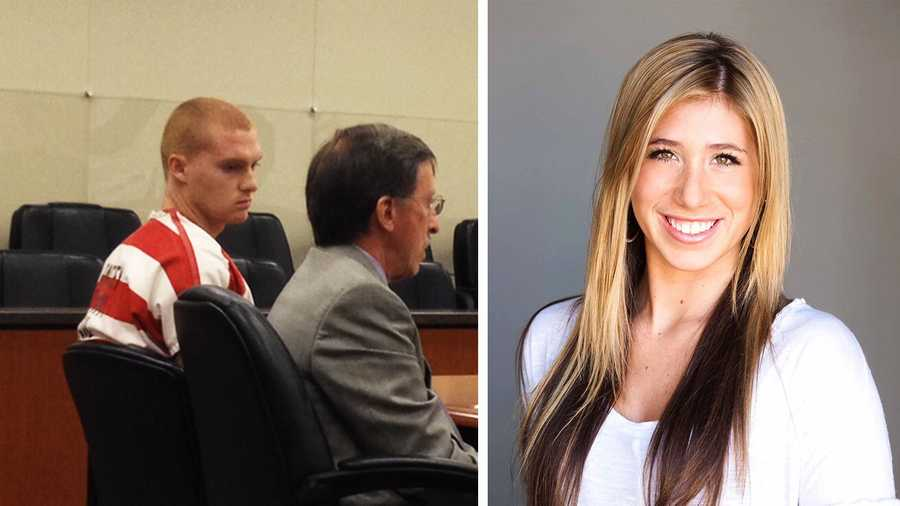 Aaron Corn, left, is seen in court. Chelsie Hill, right, has become an advocate against teenage drunk driving.
