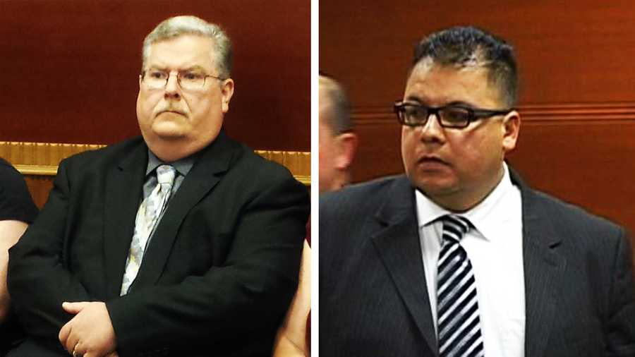 Acting King City Police Chief Bruce Miller, left, and police officer Bobby Carrillo, right, in court.
