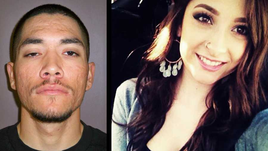 Jose Barajas, left, is wanted for the slaying of Ariana Zendejas, right.