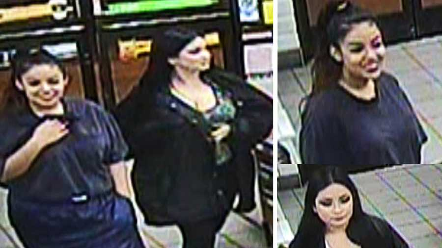 Surveillance photographs showing two young, smiling women in a convenience store were released by police to the media and public.