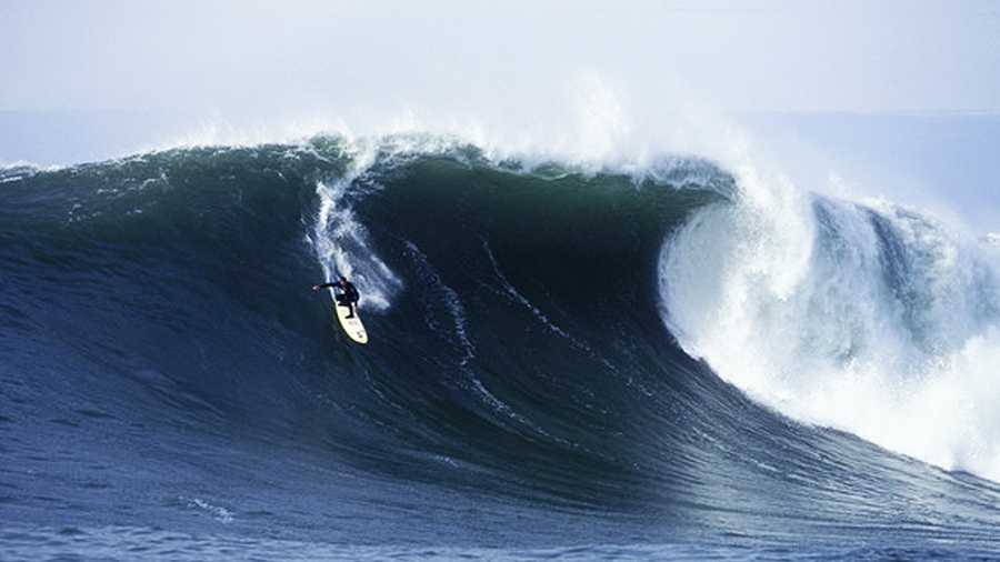 Jay Moriarity is seen surfing Mavericks in this file photo.