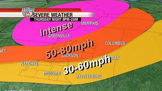 A squall line could produce strong, damaging winds in areas of Mississippi.