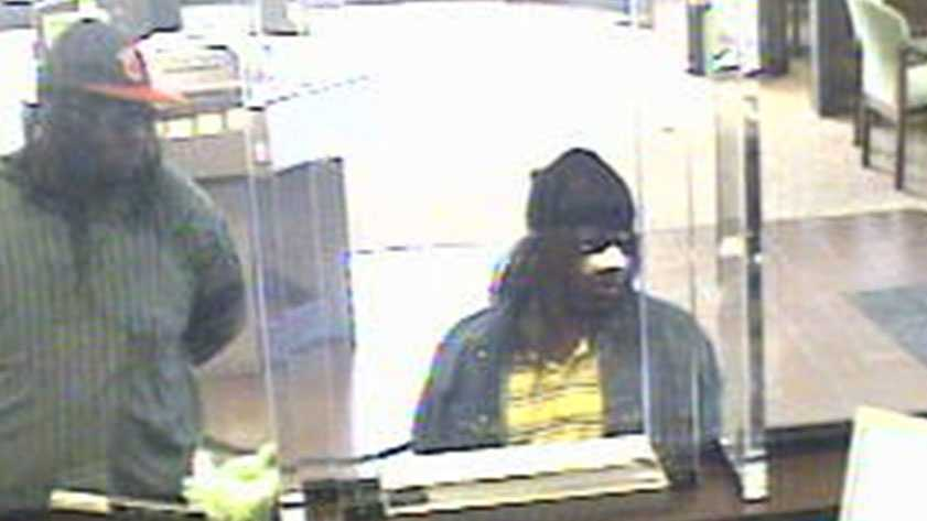 Jackson police say investigators suspect the men shown in this surveillance photo from the April 18 robbery at a Regions bank are the same ones that robbed a bank in Byram on Thursday.