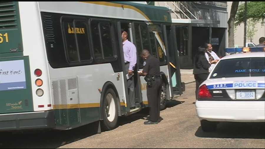 Witnesses say someone was stabbed with scissors on a JATRAN bus.