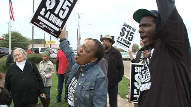 Fast-food workers held a protest in November.