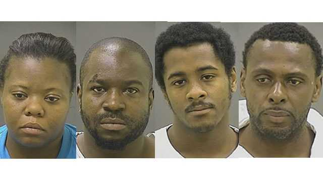 Baltimore police said 26-year-old Temeka Clark, 35-year-old Emanuel Fowlkes, 19-year-old Sean Randall and 44-year-old Kevin Whittington were arrested and charged in separate homicide investigations. Pictured here left to right.