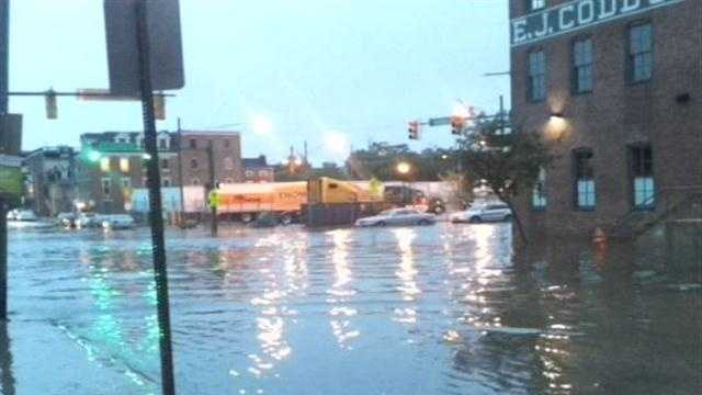 Jayne Miller captures video of flash flooding in Fells Point in the area of Aliceanna and Caroline streets.
