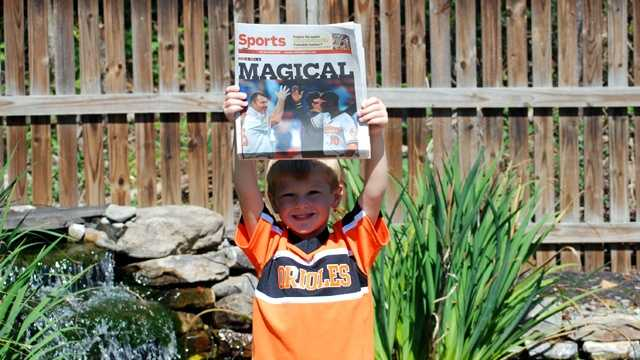 Fans everywhere, win or lose, are very happy for the O's having an Omazing season! Here's Michele Cobosco Sudo's son, Max, an O's fan who just turned 5 on Tuesday.