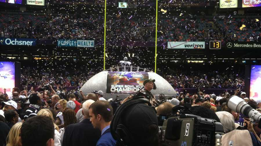 The Ravens celebrate winning the Lombardi Trophy for the second time.