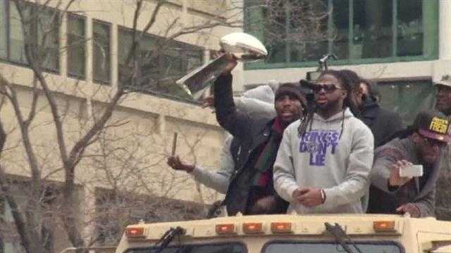 The Baltimore Ravens' victory celebration was an amazing sight as thousands of fans flocked downtown to see the NFL World Champions and welcome them home.