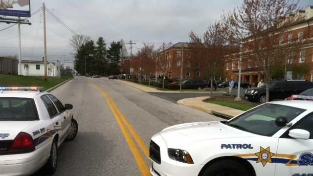 Police block roads leading to the Carroll County courthouses.