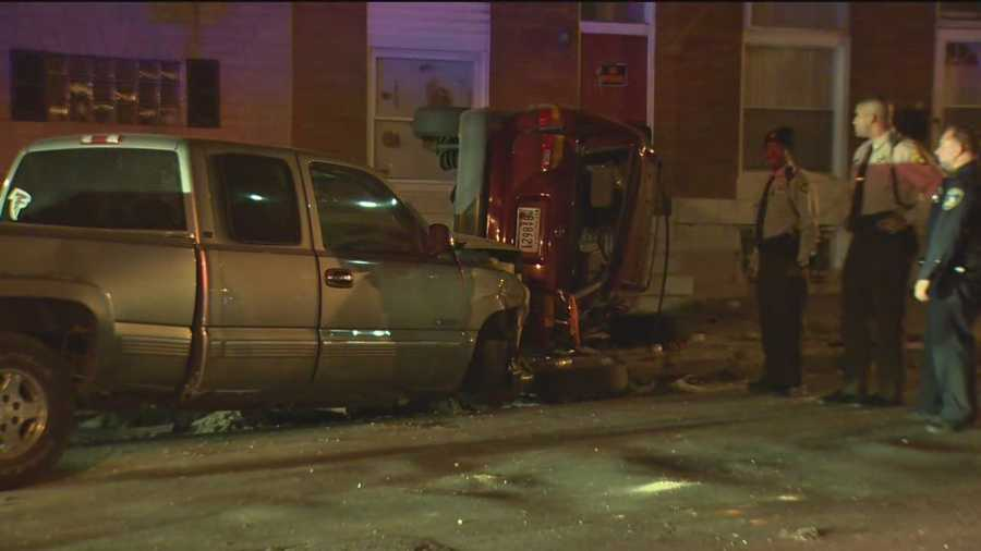 A police pursuit of a stolen vehicle ends in a crash in east Baltimore, injuring both the suspect and a victim, city police said.