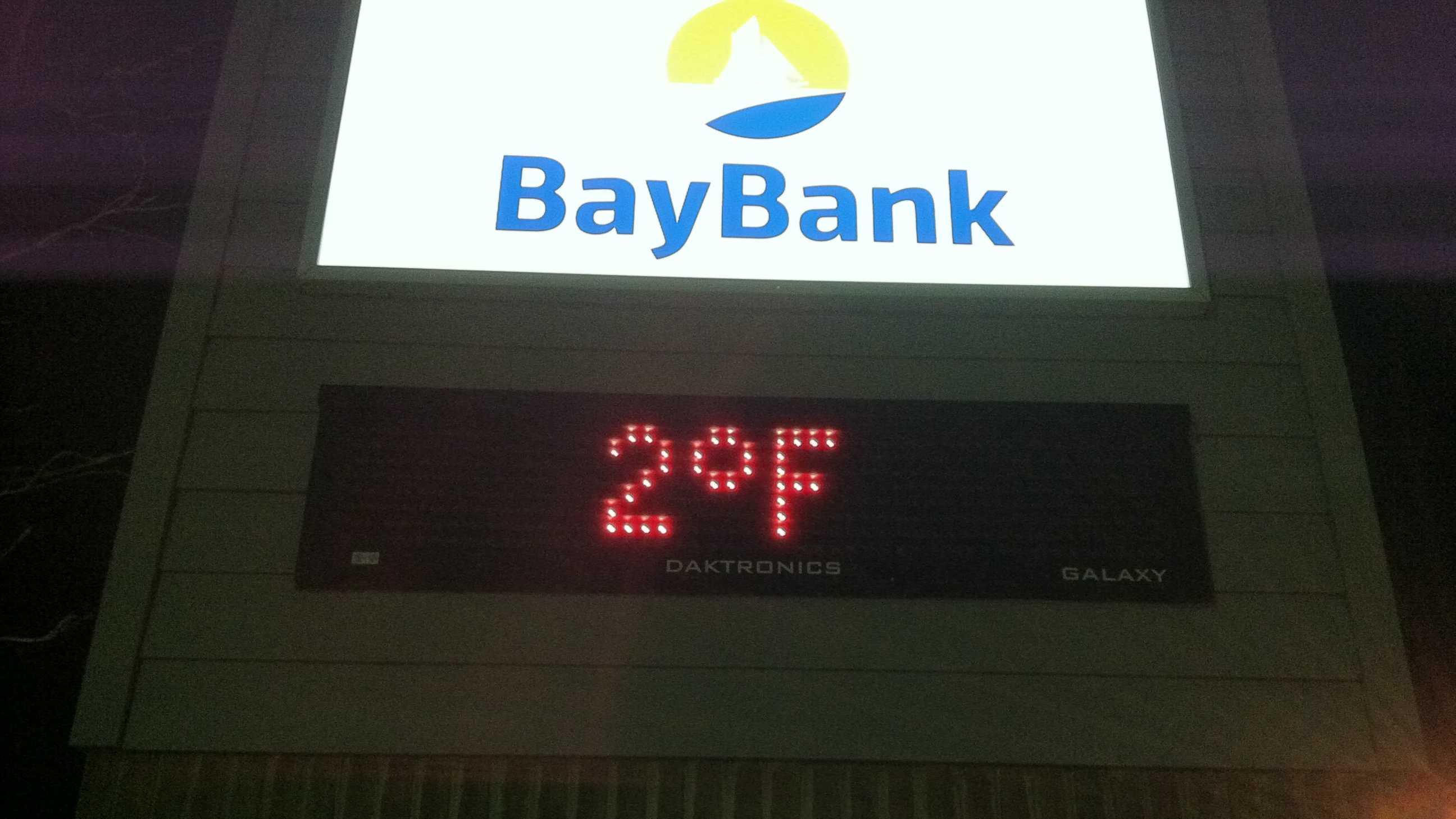 The temperature on York Road in Cockeysville at 5 a.m. Tuesday.