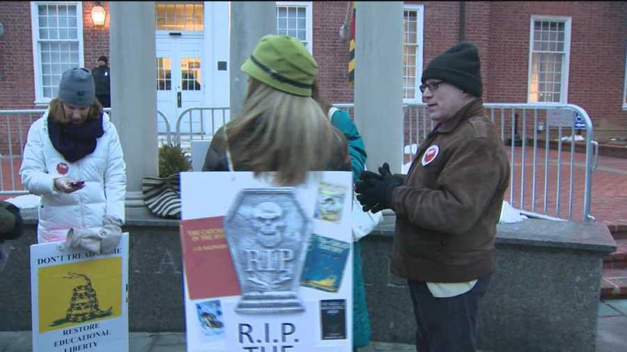 A handful of parents gather on Lawyers Mall in Annapolis for a demonstration against Common Core education standards. The rally preceded a public hearing with lawmakers and state education leaders on the new standards. Kai Reed has details.