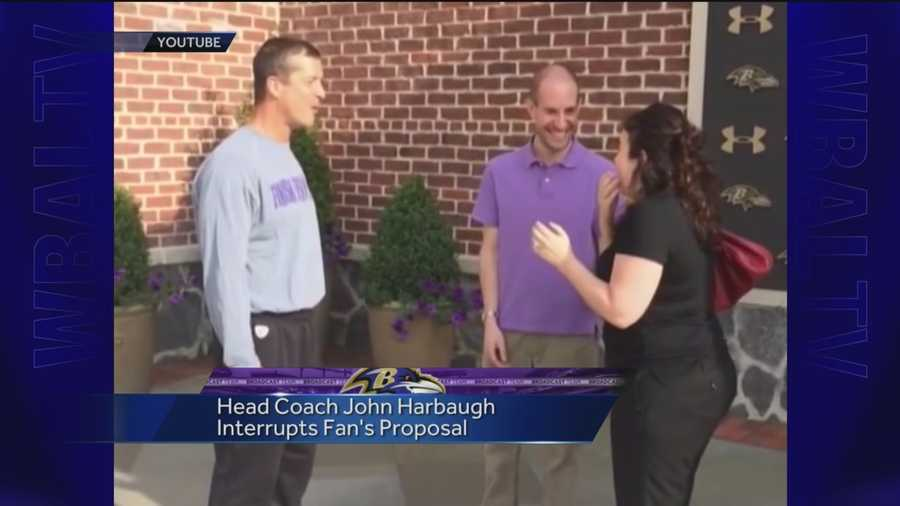 A man who proposed to his girlfriend last week during a trip to the Under Armour Performance Center where the team practices gets a big surprise interruption -- Coach John Harbaugh.