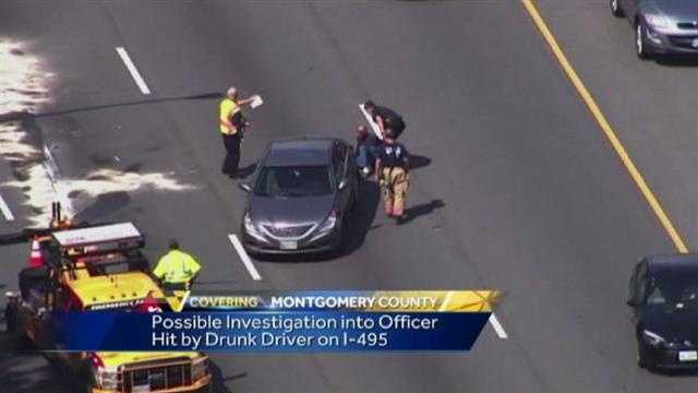 Video shows the scene where a Montgomery County police officer was hit by a car.
