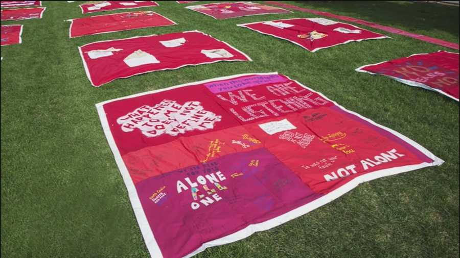 The Monument Quilt is the length of two basketball courts and it's a real conversation piece when it comes to breaking down the barriers for sexual assault survivors.