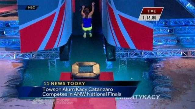 "Kacy Catanzaro competes in the national finals for ""American Ninja Warrior"" on NBC."