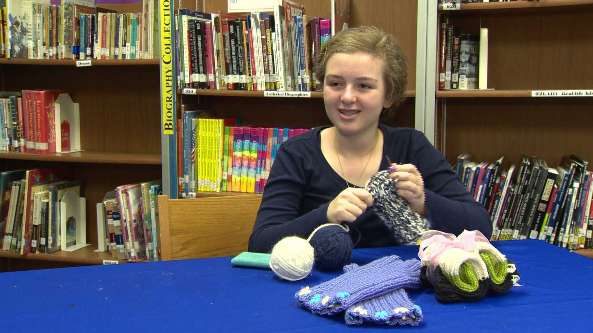 Lily DeBell works on her business, Lily's Legwarmers.
