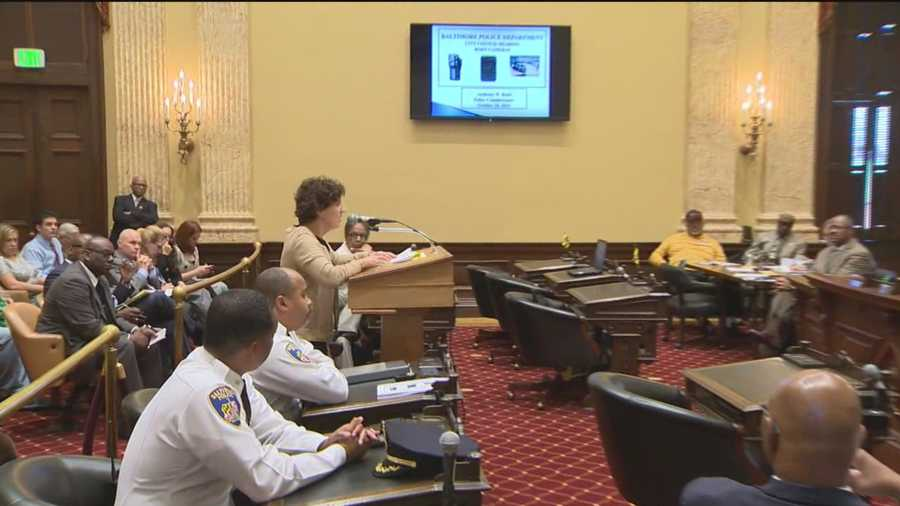 The topic of police body cameras was back on the table in Baltimore City Council chambers Tuesday night, where tempers flared at a public hearing on proposed legislation that would require officers to wear the recording devices.