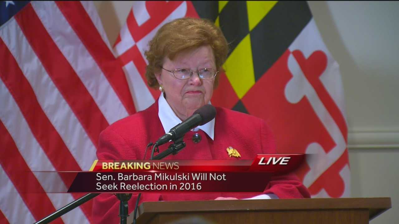 U.S. Sen. Barbara Mikulski, D-Maryland, announces she will retire at the end of her term in 2016.