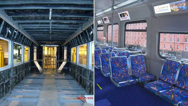 The Maryland Transit Administration is working on refurbishing Light Rail cars.