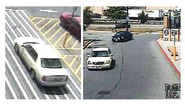 Baltimore County police said this white Cadillac was used by the people responsible for an attempted robbery Aug. 12 in the parking lot of a Walmart in Owings Mills.