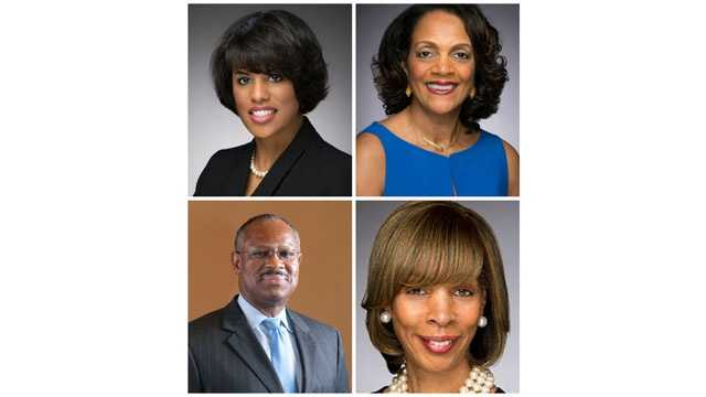 Mayor Stephanie Rawlings-Blake (top right)  will face a slew of opponent in the 2016 election, including (listed clockwise)former Mayor Sheila Dixon, state Sen. Catherine Pugh and City Councilman Carl Stokes.