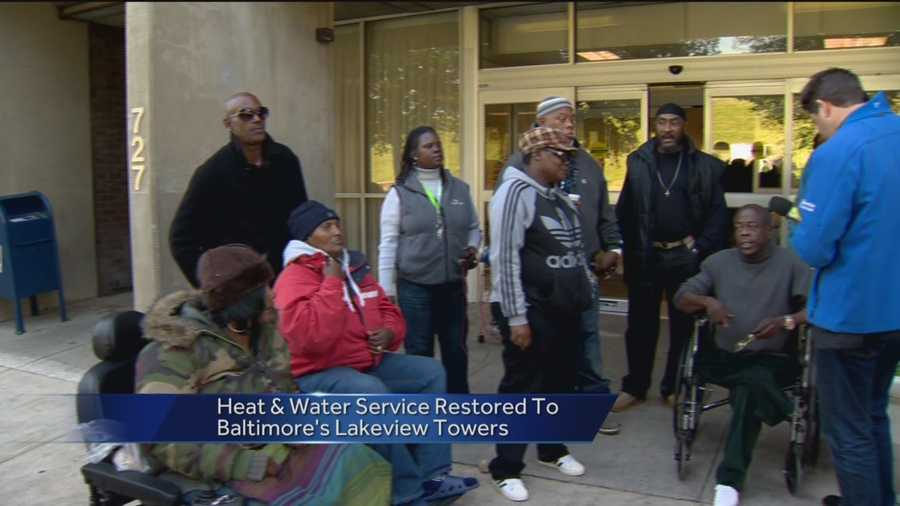 Baltimore Housing Authority officials said water and heat have been restored to residents of Lakeview Towers in Reservoir Hill.