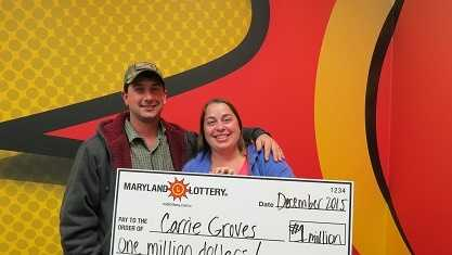 Carrie Groves, 36, of Elkridge, is the lucky winner of a $1 million Powerball prize.