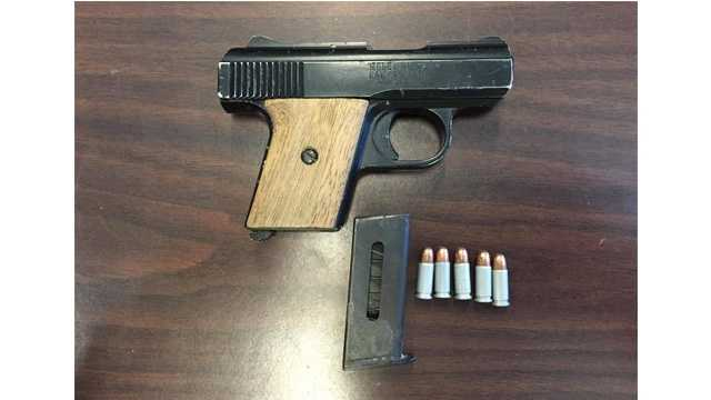 A .25 caliber Raven Arms handgun loaded with five rounds was recovered by police during a recent arrest of three men on a handgun violation.