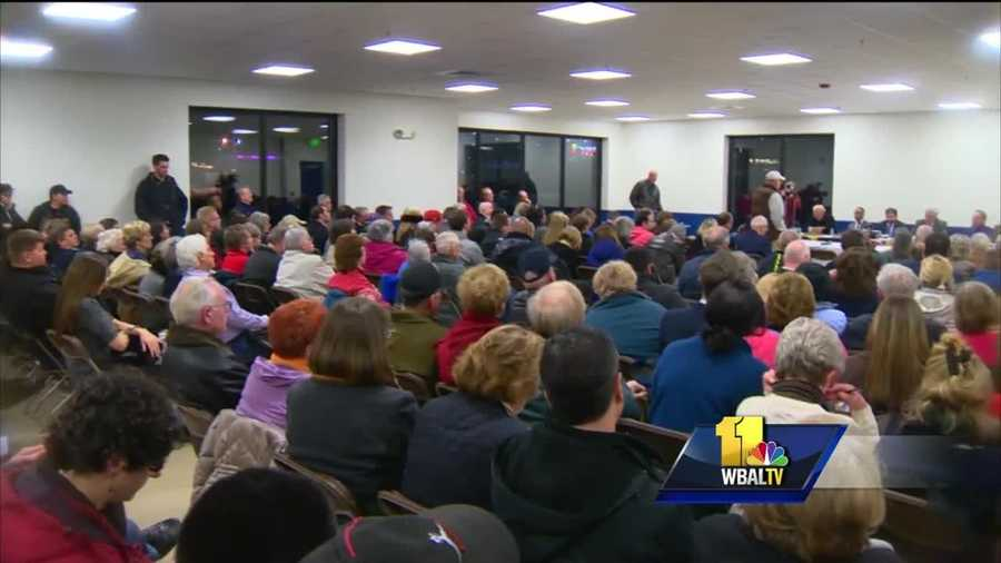 Scores of people turned at to the Maryland Fairground in Timonium to debate a plan to open an off-track betting site there. Supporters say it will generate much-needed money for the state's racing industry while some residents have concerns about increased traffic and gambling addiction.