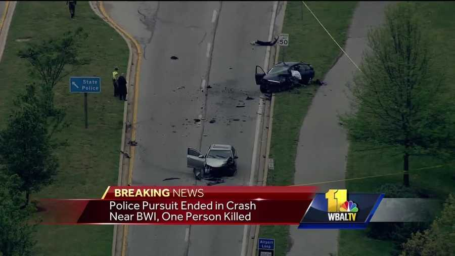 One person is dead after a two-vehicle crash near Baltimore Washington International Thurgood Marshall Airport involving a police pursuit, Anne Arundel County fire officials said. Maryland State Police said a pursuit ended with crash next to BWI airport. Police said there is debris all over Aviation Boulevard. The two-vehicle crash happened around 4 p.m. Friday near the State Police Glen Burnie Barrack on Aviation Boulevard near Dorsey Road, officials said. One person was killed. There is no word on if anyone else was injured.