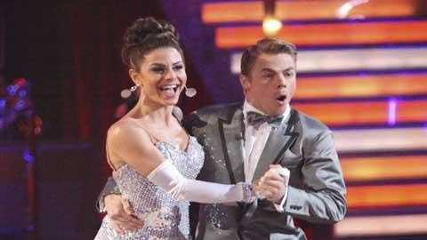 "In this April 23, 2012 image released by ABC, TV personality Maria Menounos, left, and her partner Derek Hough perform on the celebrity dance competition series, ""Dancing with the Stars,"" in Los Angeles."