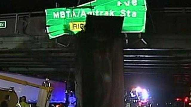 Dump truck hits overpass on Route 128 north in Canton.