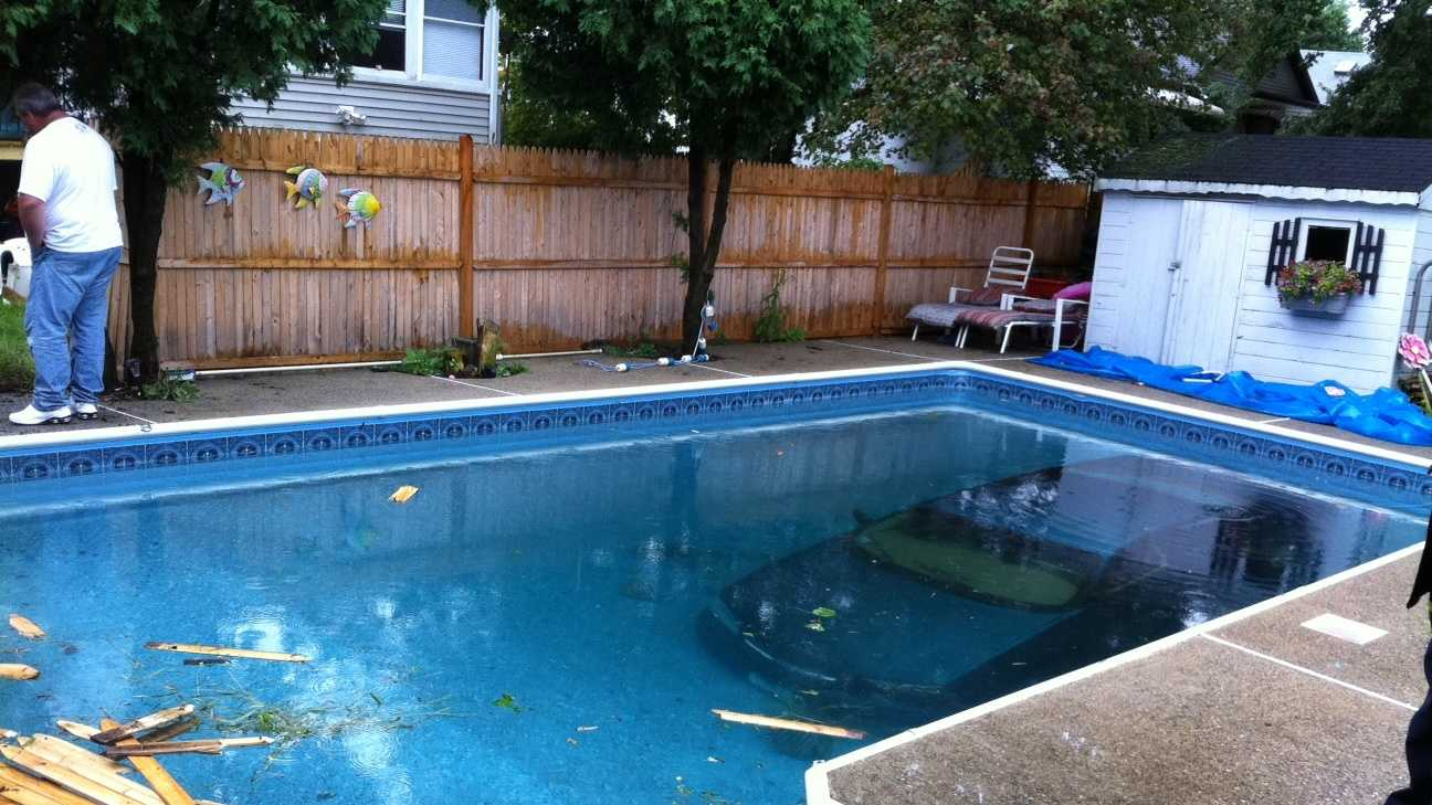A man's vehicle ended up at the bottom of an in-ground pool in Malden Tuesday afternoon.