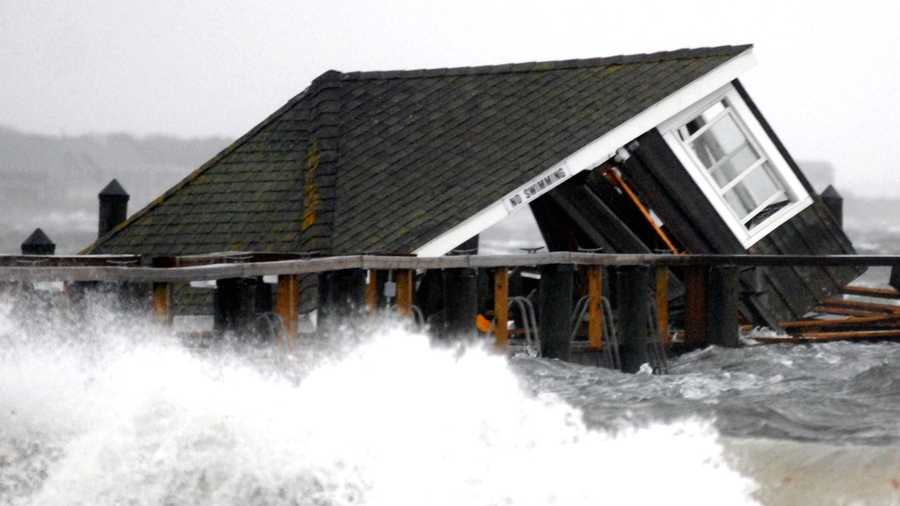 A dock house near the Kennedy compound in Hyannis Port was destroyed in the storm.