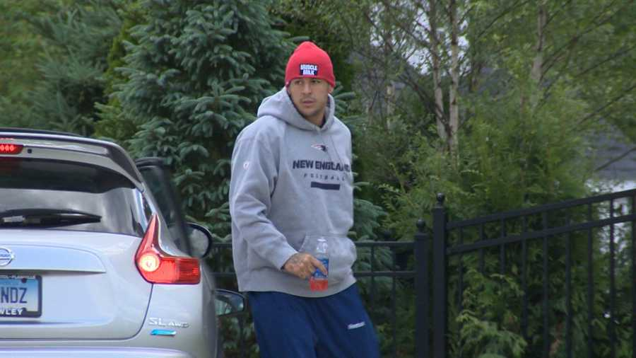 Pats tight end Aaron Hernandez returns to his North Attleborough home on June 19, 2013.