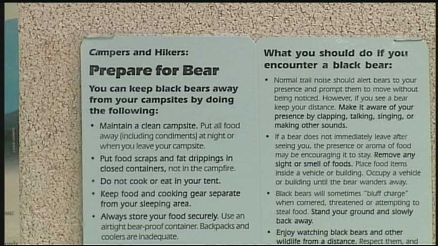 Conservation officials warn hikers and campers to keep sites clean to avoid bears looking for food.