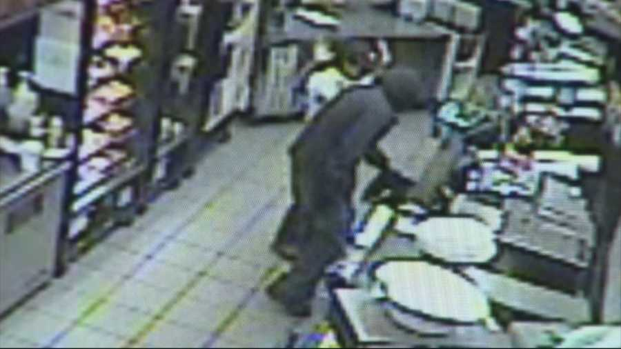 Surveillance video captured the most recent Dunkin' Donuts robbery that took place Tuesday night in Rockland.